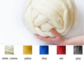 Express shipping! 100% Merino wool yarn, 22-23 micron merino wool, Super bulky yarn, Giant merino Super chunky yarn, 2.2 lbs/1kg skein