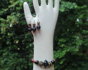 Garnet and black earring and bracelet set