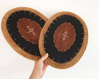 2 Vintage Tribal Wood Placemat Wall Feature - wall decor - Bohemian Boho Jungalow Eclectic Style Decor Home - basket wall shell inlaid #0561
