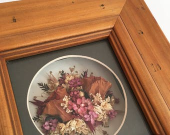 Vintage framed dried flowers - bohemian eclectic jungalow boho home decor style - dried florals wildflowers pressed - pink roses #0739