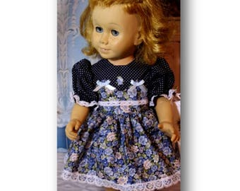 """Chatty Cathy Doll not included. Blue Dots and Flowers Dress with Buttons. Fits 20"""" dolls like the Chatty Cathy Dolls.  Toy doll clothes"""