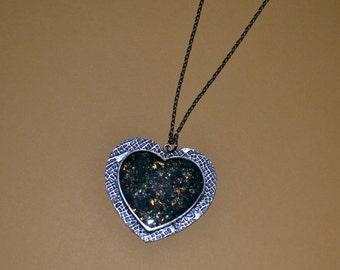 Antique Silver Heart Bezel with Fire Opal Glitter