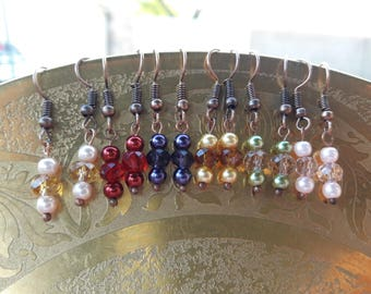 Faux pearl and crystal bead dangle earrings- multiple colors available