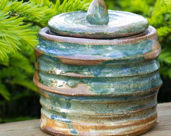Ridged Blue Jar (Salt Fired)