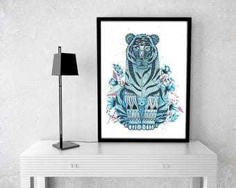 Tiger, Watercolor, Original, 16.5x23.4in, Blue, Zentangle, Watercolor of Tiger, Animal, Doodle, Drawing, Poster, Illustration, Paint, Art