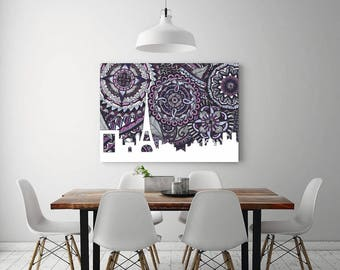 Paris Eiffel Tower, Poster, Print, Art, Skyline, Paris Zentangle, Doodle, France, Home Decore, City Silhouette, Purple, Louvre, Notre Dame