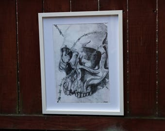 Skull and Barbed Wire Mixed Media Drawing, Original Artwork, Original drawing, gothic wall art, gothic decor, skull artwork