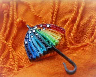 Umbrella Brooch, Pin, Quilling Art, Paper Art, Weather Brooch, Colorful Jewelry, Rhinestones, Unique Quilling, Badge, Stylish, Rainbow