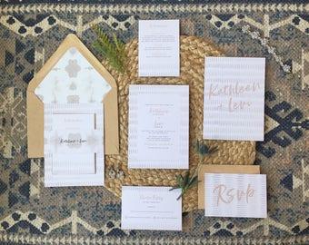 PAINTERLY SUITE - Boho Wedding Invitations, Watercolor Pattern, Shibori Pattern, Bohemian Wedding, Modern Wedding