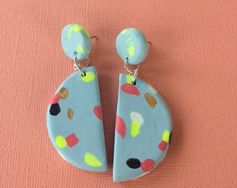 Dotted Half Moon Dangles - Blue