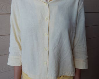 1990s Yellow linen blouse