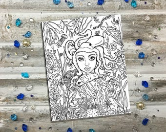 Sea Goddess-Adult Coloring Page-Instant Digital Download-Printable-Hand Drawn by Lady Girvi