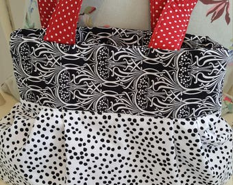 Pretty Fabric Black and White Spot Bag, handbag, shopping bag