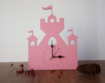 Children Wall Clock, Wood clock, Pink Wooden Clock, Nursery gift, Baby Gift, Kids clock, Children Room Decor, Baby's Room Clock, Clock decor