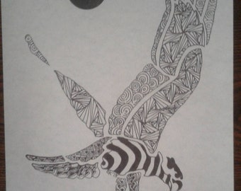 Eagle Zentangle print with Sun