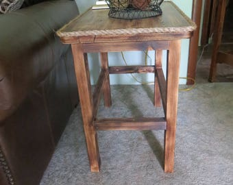 Rustic Wood End Table