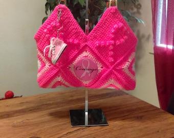 Breast Cancer Awareness Crochet Handbag