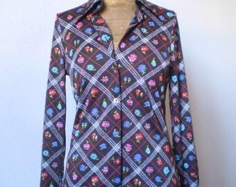 70s polyester shirt;  vintage shirt; original flower print shirt;  brown shirt.