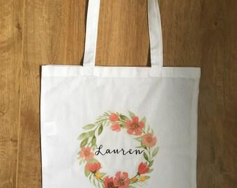Personalised flower garland tote bag