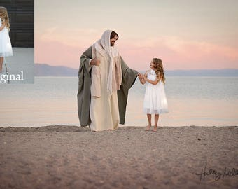 4x Jesus Christ/Savior Digital Backdrop/Background on Beach/Shoreline/Ocean for Photography Composite