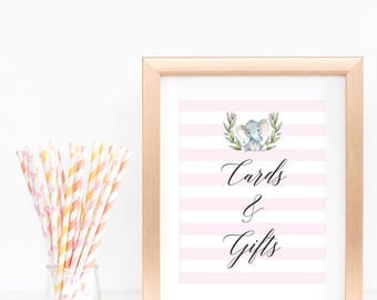Cards and Gifts Sign Printable, Elephant Theme Baby Shower for Girl, Baby Girl Shower Table Signs, Watercolor Elephant and Pink Stripes, LPE
