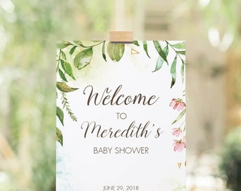 Editable Welcome Sign Baby Shower Welcome Sign Instant Download Greenery Wedding Welcome to Sign Watercolor Green Leaves Printable PDF LB2