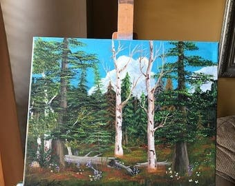 Mountain Forest, Acrylic Painting, Landscape Nature