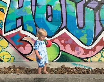 Hand-dyed Indigo Romper; Toddler Boy Romper; Baby Boy Romper; Boy Romper