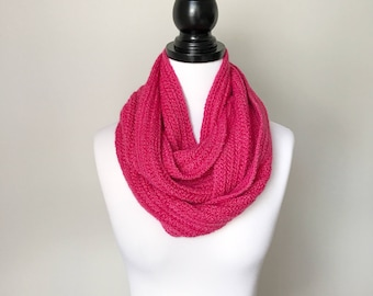 Ready to ship - Handmade Crochet Wool, Alpaca and Silk Infinity Scarf in Pink