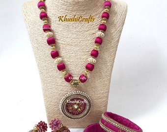Pink Raw Silk/Silk Thread Jewelry Set with Jhumkas and matching raw silk bangles -Handmade Indian Jewelry