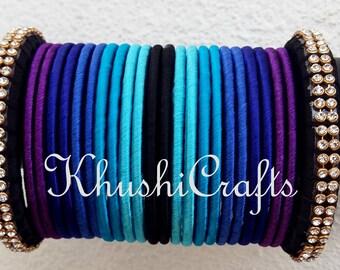 Blue shaded Silk Thread Bangles set -Handmade Indian Jewelry