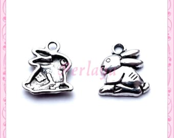 Set of 15 charms silver rabbits REFP437X3