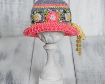 Newborn Crochet Flower Hat Girl with Embroidery for Photography Props