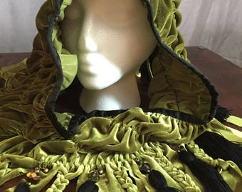 Green Forest Fairy Hood With Bells
