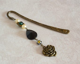 Black gothic rose bronze bookmark steampunk gift women green white decorative bookmark jewelry reader gift book lover boho journal accessory