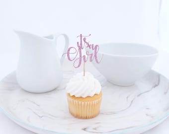 Baby Shower Cupcake Toppers, (12 Ct) Itu0027s A Girl Cupcake Topper, Girl