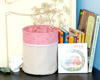 Fabric Basket, Pink Design, Linen Basket, Storage Basket, Bedroom Storage, Home Decore, Toy Storage, Nursery Roome Organizer, Fabric box.