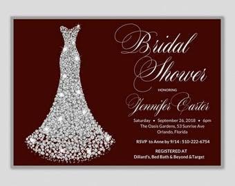 Wedding Dress Bridal Shower Invitation, Bridal Shower Invitation Dress, Bridal Shower Invites, Wedding Gown Bridal Shower Invite