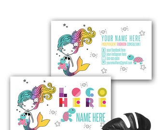 Mermaid Turtle Dot Dot Smile Business Card, Personalized Two Sided Business Card Printable File, Dotdot smile Business cards