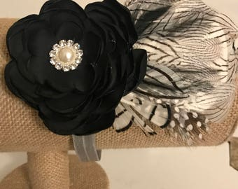 Vintage Feather & Floral Headband