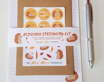 Personalised Hedgehog Autumn Letter Writing Stationery Kit - Penpal Letter Writing Gift