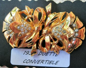Stunning DUETTE Brooch VINTAGE 1932 Gold Rhinestone Floral ~ Vintage Duette Brooch Convertible ~ Brooch Dress Clip Pendant Combination