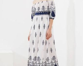 Ornate Bardot Off the Shoulder Dress