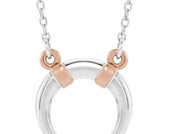 14K White & Rose Crescent Necklace