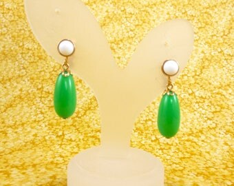 Vintage Avon dangly clip on earrings - retro mod green and white
