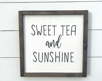 Sweet Tea and Sunshine | Wood Farmhouse Sign