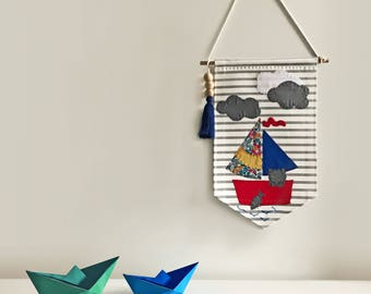 Marine Wall Banner for Nursery, Kids, Girls, Boys Bedroom, Playroom, Wall Flag designed with fabric appliques, Baby Gift, Wall Art