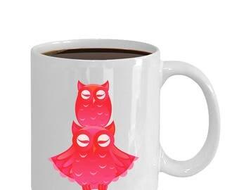 Red Owls Art coffee and tea mug ceramic 11oz or 15oz