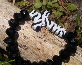Zebra cross beaded bracelet