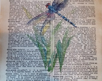 vintage dictionary page, book art, upcycle book art, dragonfly